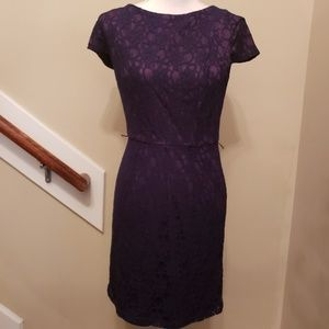 Floral Detail Lace Short Sleeve Mini Dress, sz 6